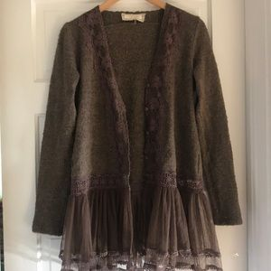 Anthropology lace soft brown cardigan boho